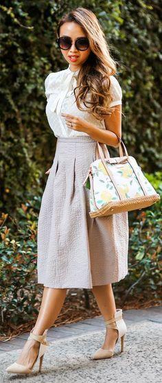 H&m Blush Midi Crinkle A-skirt