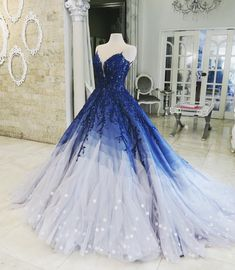 Buy Ombre Ball Gown Royal Blue Prom Dresses With Appliques, Long V Neck Quinceanera Dresses online.Shop short long ombre prom, homecoming, bridesmaid evening dresses at Couture Candy Cocktail party dresses, formal ball gowns in ombre colors. Royal Blue Prom Dresses, Cute Prom Dresses, Quince Dresses, Elegant Dresses, Pretty Dresses, Formal Dresses, Bride Dresses, Dresses Dresses, Casual Dresses