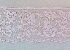 Vintage filet lace wide rose pattern ecru by mathildasattic