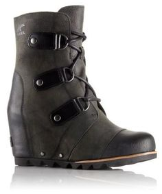 Black sorrel winter wedge boot
