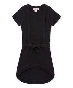 Loving this Black Tie-Waist Hi-Low Dress - Girls on #zulily! #zulilyfinds