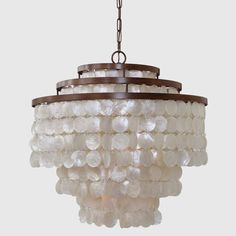 Iron and Capiz Shell 3 Tier Chandelier