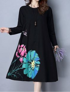 Women loose fit over plus size retro flower ethnic dress plate buckle tunic chic #Unbranded #dress #Casual