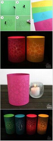 Porta velas de lata con diseño