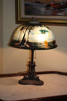Circa 1920s Pittsburg Lamp High Quality Seascape Antique Lamps, Vintage Lamps, Vintage Lighting, Leaded Glass, Stained Glass, Gustav Stickley, Painting Lamps, Tiffany Lamps, Chandeliers