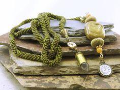 Time Crochet Lariat Necklace, Crochet Belt, Beaded Belt Long Lariat Necklace Boho Chic Ethnic Necklace