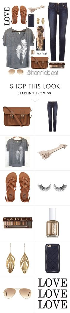 """Trying New Layout + Feathers"" by hannieblast ❤ liked on Polyvore featuring The Cambridge Satchel Company, Tory Burch, Uzura, Erica Weiner, Billabong, Urban Decay, Essie, Aurélie Bidermann and Ray-Ban"