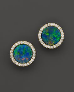 Meira T 14K Yellow Gold Blue Opal and Diamond Stud Earrings | Bloomingdale's