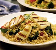 Grilled halloumi with spiced couscous - everything for this recipe just came in my CSA box, including the halloumi!