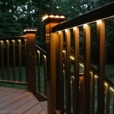 Other simple-to-install options that work especially well for decks include banister cap lights, rope lights and downlights built into the posts. Most of these accessories are easy to find, and retrofitting an existing deck stairway should be relatively e Wood Deck Railing, Deck Railing Design, Deck Design, Railing Ideas, Outdoor Deck Lighting, Indoor Outdoor, Rope Lighting, Lighting Design, Landscape Lighting