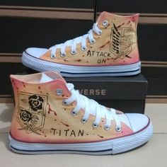 Custom Hand Painted Shoes,Attack on titan Shoes,Custom Converse... ❤ liked on Polyvore featuring shoes