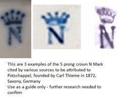 Antique Pottery Makers' Marks | German 'Crown Mark with N' Porcelain Mark - A J. Uffrecht & Co ...