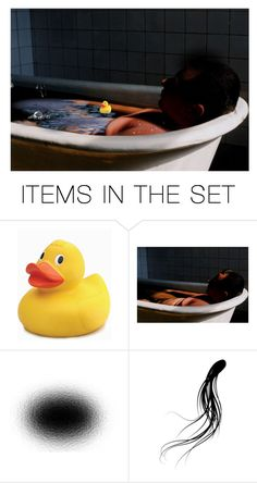 """Cal Left Work Early & Walked Home, Which He Usually Disdained…When He Passed the Toy Store He Went in…He'd Never Been Allowed to Have ""Wussy"" Toys…He Found a Rubber Duck, Played With This Tiny Yellow Thing in His Tub, & Sat Immersed in Water & Tears"" by maggie-johnston ❤ liked on Polyvore featuring art"