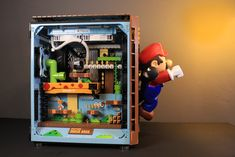 Diy Computer Case, Gaming Computer Desk, Computer Build, Gaming Room Setup, Desk Setup, Pc Gamer, Gamer Room, Super Mario, Nintendo Room