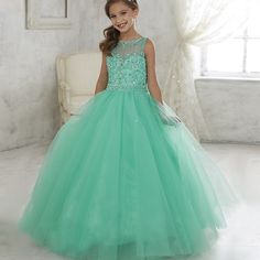 89.25$  Buy here - http://ali3om.worldwells.pw/go.php?t=32703843991 - Gorgeous First Communion Gowns Beading Vestido Daminha Azul Square Collar Ruffles Kids Dresses Tulle Organza Girl Ball Gown 12 Y 89.25$