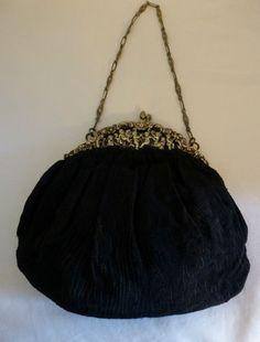 Antique Victorian Black Bag Purse 800 Silver CHERUBS Lined Chain Strap - ORNATE #Handmade #EveningBag