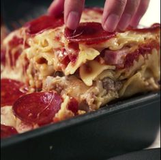 Pepperoni Pizza Casserole... but toss pasta in red sauce instead & use pizza seasoning... also add bits of pizza crust on top