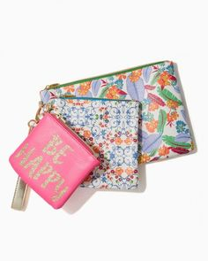 Be Happy Pouch Trio | Charming Charlie