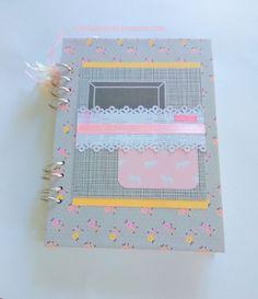 Libreta agenda de scrapbooking de tapa dura y anillas en tonos rosa y gris. Lista para enviar. de TrendaLerendaTL en Etsy