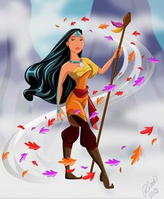 Artist Robby Cook creatively merged Disney princesses with characters from Avatar: The Last Airbender. Here's Pocahontas as an Airbender. Illustration by Robby Cook Pocahontas Disney, Disney Pixar, Avatar Disney, Disney E Dreamworks, Princess Pocahontas, Disney Princess Art, Disney Fan Art, Disney Love, Disney Magic