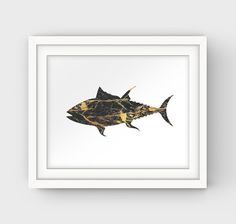 Black and Gold Print Gold Painting Gold Fish by GalliniDesign