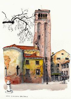 Chris Lee   WATERCOLOR SKETCH  San Giacomo Dall'Oreo, Venice