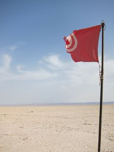 A flag on a shipwrecked boat in the middle of the desert, approximately 150 km from the Algerian border.