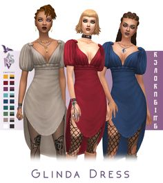 Named after a suggestion of Comes in both solid and accent colors that are in the style of the original dress (black skirt + color top) to honor that design ; Sims 5, Sims 4 Mm Cc, Sims 4 Cas, Dress Name, Sims 4 Dresses, Sims4 Clothes, Sims 4 Characters, Play Sims, Sims 4 Cc Finds