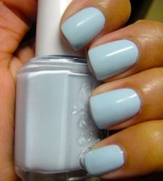 very light baby blue nails