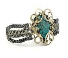 Wire Wrap Gray Macrame Bracelet with Azurite