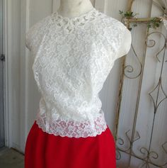 1950s Blouse De Jour by Saab Blouse Cutwork Lace Button Back White Pin Up Form Fitted Plus Size Bust 38