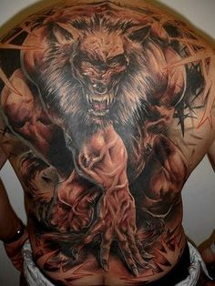 Even werewolves can be narcissists. Using a self-portrait as a tattoo. Hmph.