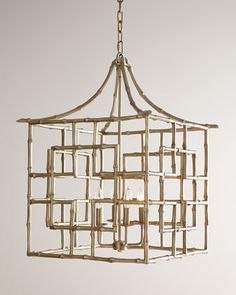 """Handcrafted chandelier. Made of steel and resin. Hand-painted, antiqued-silver finish. Used four 60-watt bulbs. 5.5""""Dia. ceiling canopy included. Direct wire; professional installation required. 21""""Sq"""