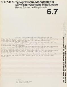 TM SGM RSI, Typografische Monatsblätter, issue 6/7, 1974. Cover designer: Wolfgang Weingart