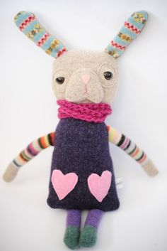 ***  miss bunny is made entirely from new and recycled wool, making her wonderfully soft. she has plastic safety eyes,hand-stitched details, and a