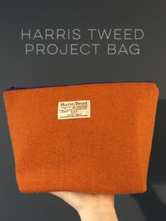 Orange Harris Tweed project bag from Goodlass http://etsy.me/2nBEwvc