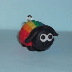 'Gorden Sheepington - The Gay Pride Sheep' Charm. Part of Ickle Stitches new 'Sheepington's' collection. Designed and created by Claire Louise Hanner (me, lol). Made from fimo polymer clay.   Look out for other 'Sheepington's' Sheep - Billy, Kiss Me Kimberly and Cliff The Quiff. Plus many more to come!