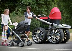 The Manliest Stroller Ever Made. WOW!!!The ultimate accessory for COOL #dads! ŠKODA unveils giant vRS 'Man-Pram' - ŠKODA.  The The 'King Size' buggy is a high performance vehicle to designed to provide the ultimate #baby transportation experience..... My husbnad would DIE!!! LMBO!!!