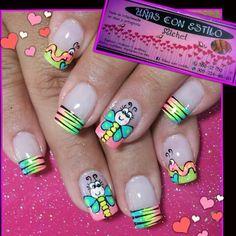 Pin by robin dien on nail design Nail Manicure, Toe Nails, Pedicure, Nail Polish, Colorful Nail Designs, Acrylic Nail Designs, Spring Nail Art, Spring Nails, Summer Nails Neon