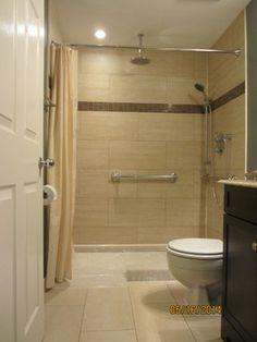 Wheelchair accessible shower bathroom