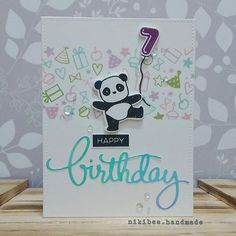 Birthday card for a little cutie. Bday Cards, Kids Birthday Cards, Handmade Birthday Cards, Greeting Cards Handmade, Stampin Up Karten, Mama Elephant Stamps, Stamping Up Cards, Card Making Inspiration, Kids Cards
