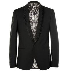 Alexander McQueenBlack Beaded Wool and Mohair-Blend Tuxedo Jacket