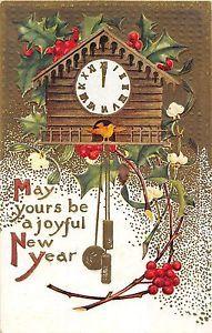 New Years Greeting with Clock Vintage Postcard C1986 | eBay