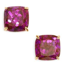 Women's Kate Spade New York Mini Small Square Stud Earrings ($32) ❤ liked on Polyvore featuring jewelry, earrings, purple multi glitter, kate spade jewelry, purple jewelry, purple stud earrings, polish jewelry and sparkle jewelry