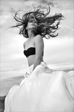 Denise Vegas for Alfamagazine Angel Keynner's Photography Black and White Wind Blown Hair, Wind In My Hair, Wild Is The Wind, Gone With The Wind, Wind Of Change, Candle In The Wind, Portraits, Black N White Images, Black White