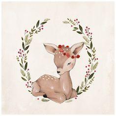 Ciervos de la Navidad 10 X 10 por KelliMurrayArt en Etsy