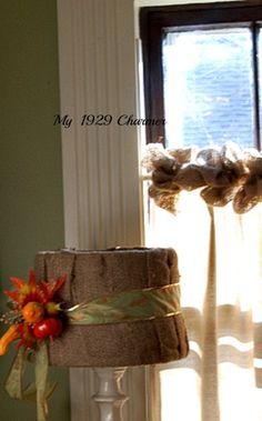 Burlap Wreath Trimmed Drop Cloth Curtains!