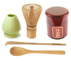 Premium Matcha Making Kit - Set of 5 Items. Whisk + Scoop + Tea Spoon + Whisk Holder + Sifter Can (Tame)