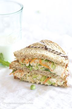Epicurean Mom: Healthy Chicken Salad Sandwich Recipe, which includes shelled sugar snap peas--delicious! Salad Sandwich, Soup And Sandwich, Sandwich Recipes, Chicken Sandwich, Healthy Chicken, Chicken Salad, Chicken Recipes, Creamy Chicken, Skinny Chicken
