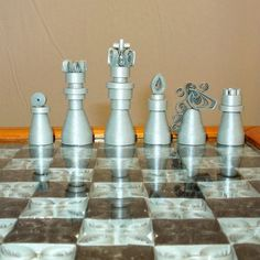 Quilled paper chess set with board  silver and by SumireDesign, $100.00